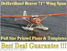 "Dehavilland Beaver 71"" Wing Span RC Airplane Full Size PRINTED Plans & Templates"