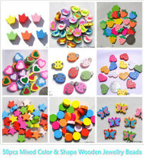 50pcs Mixed Colour & Shape Wooden Jewellry Beads for Kid Crafts Heart Flower Owl