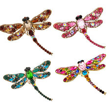 Women's Dragonfly Crystal Brooch Lovely Rhinestone Scarf Pin Jewelry Clever