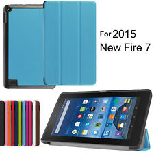 "NEW 7"" PU Leather Folio Wake/Sleep Stand Case Cover for Amazon Kindle Fire 2015"