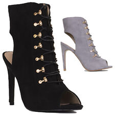 Womens Ladies Lace Up Ankle Boot High Heel Shoes Zip Up Boots Shoe Size