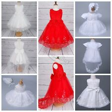 Baby Girls Embroidered Princess Birthday Party Christening Baptism White Dress