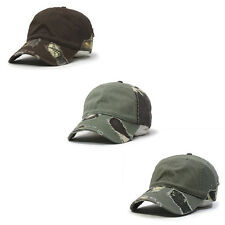 Camouflage Washed Cotton Twill Distressed Visor Low Profile Baseball Cap
