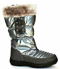 F&S Everest UK 5 & 6 Pewter Quilted Zip Up Mid Calf Boots with Faux Fur Trim