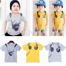 Boys Kids Casual Cotton Short Sleeve Tops T-Shirt Summer Sports Print Tee Shirt