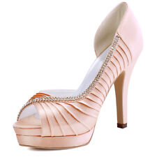 EP11064-IPF Pink Pumps Platform Heels Peep Toe Pleated Satin Party Evening Shoes