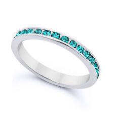 Solid 925 Sterling Silver 3mm Simulated Blue Topaz CZ Eternity Band