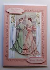 HANDMADE BIRTHDAY CARD WITH EDWARDIAN LADIES. ANY RELATIVE OR NAME