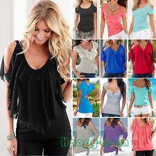 Fashion Women Short Sleeve T-Shirt Blouse Summer Casual Loose Tee Tops Plus Size