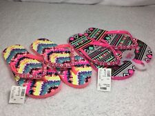 Justice Girls Multi Color Flip Flops Girls Size 6 / 7 New With Tags