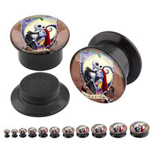 Pair Jack And Sally Logo Acrylic Plugs Screw Fit Flesh Tunnels Ear Gauge 4G-1""