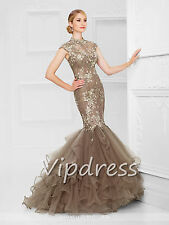 Mermaid Evening Dresses Lace Appliques Beads Cap Sleeve Formal Prom Pageant Gown