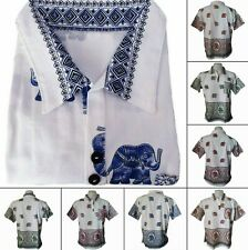 Mens Elephant Print T-Shirt 100% Cotton Thai Hippie V-Neck Casual Polo Shirt Top