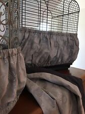 Hand Crafted Gray Fabric Bird Cage Skirt Seed Catcher Guard or Cover XS-XXL