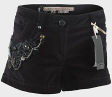 LADIES BLACK STRETCH COTTON CORDUROY SHORTS WITH CROCHET/STUD/BEADS/CHAIN DETAIL