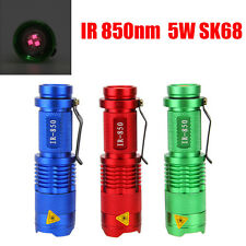 LED Flashlight Night Vision IR Infrared Radiation Light Torch Zoomable 850nm 5W