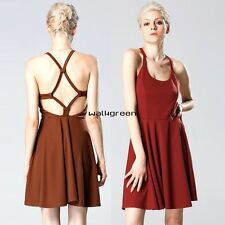 Sexy Women Strap Backless High Waist Solid Pleated Dress Casual Club Wear WN