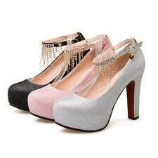 fashion womens block Sexy heels ankle strap sandals ladies strappy party shoes