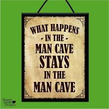 """WHAT HAPPENS IN THE MAN CAVE"" WOODEN POSTER PLAQUE/SHABBY CHIC VINTAGE SIGN"