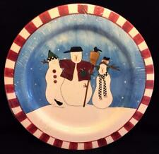 "Sakura SNOWMAN Large 16.5"" Round Serving Platter Debbie Mumm Blue Winter Cello"