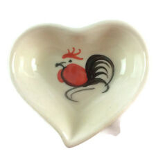 Thai Heart - Shaped Small Ceramic Rooster Sauce Bowl 0.5 Oz Set of 1, 2, 4, 6