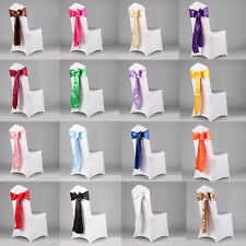 New Wedding Organza Satin Chair Cover Sash Bow Ribbon Party Banquet Decoration