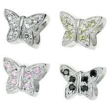 Sterling Silver Butterfly CZ Crystal Bead for European Charm Bracelets