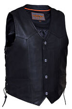 Mens Premium Naked Leather Motorcycle Vest with Side Laces (V331)