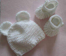 Hand Crochet / Knitted Baby Teddy Bear Ears Hat / Beanie & Matching Shoes