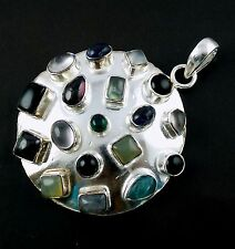 Natural Multi Gemstone Mix Shape Cabochon Gemstone 925 Sterling Silver Pendant