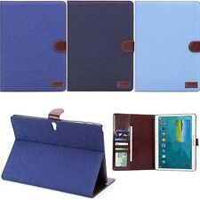 Jean Denim PU Leather Pouch Smart Case Stand Card Cover For Samsung Galaxy Tab S