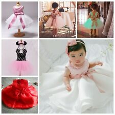 Princess Baby Girl Party Wedding Pageant Formal Clothes Tutu Pearl Bow Dresses