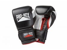 FREE Pro Box Pro-Spar Leather Sparring Gloves Black Boxing Kickboxing Training