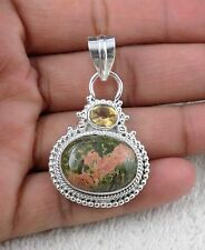 Natural Unakite Jasper Cabochon Gemstone 925 Sterling Silver Party Wear Pendant