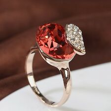 18K Rose Gold GP Made With Swarovski Crystal Stunning Ring Oval Cut Ruby Ring