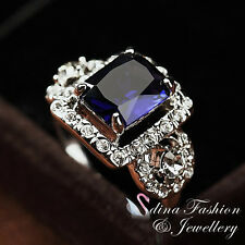 18K White Gold Plated Made With Swarovski Crystal Vintage Classic Sapphire Ring