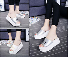 Women White Flange Open-Toed Slippers Casual Cat Fish Sandals Summer US 4.5-8