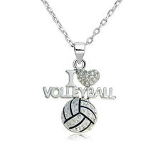 Fashion Clear Crystal Volleyball Heart Shape Pendant Necklace Link Chain Jewelry