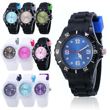 Silicone Geneva Quartz Jelly Wrist Watch for Boys Girls Mens Womens Ladies Gift