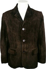 UNICORN Mens Classic Suit Blazer Jacket - Real Leather Jacket - Brown #3V