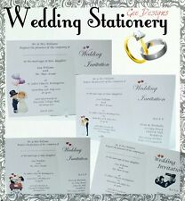 100 Wedding Invitations Personalised Stationery A6 Complete with Envelopes.