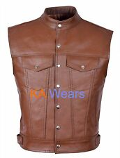 Biker Mens Leather Waistcoat Motorcycle Vest Brown Real Vest Jacket Vintage