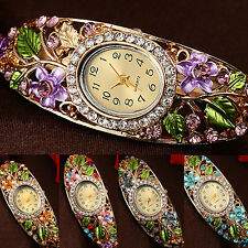 Women's Lady Crystal Colored Flower Bangle Bracelet Watch Analog Quartz Fancy