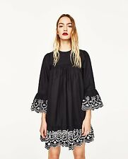 ZARA *Black Loose-Fit Dress With Contrasting Embroidery* SIZE_XS_S_M_L