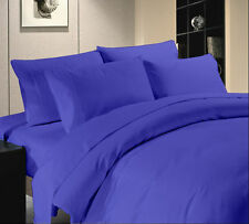 1000 TC Hotel Royal Blue Solid & Striped 100% Egyptian Cotton All UK Bedding Set