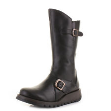 Womens Fly London Mes 2 Black Leather Mid Calf Ladies Flat Ankle Boots Size