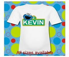 Easy iron on Sesame Street Personalized Cookie Monster T Shirt Transfer 3 sizes