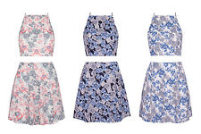 Floral Print Women High Neck Crop  Top Skater Mini Skirt Set Two Piece Co-Ord