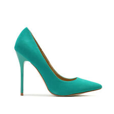 New Womens Slip On Slim Stiletto Pointed Toe Court Heels In Green Faux Suede 3-8