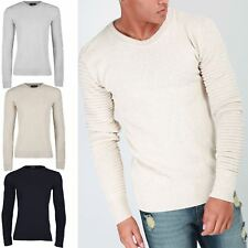 Mens Ribbed long Sleeve Crew Neck Knitted Casual Sweater Pullover Biker Jumper